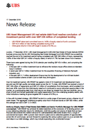 UBS Asset Management UK real estate debt fund reaches conclusion of investment period with over GBP 338 million of completed lending